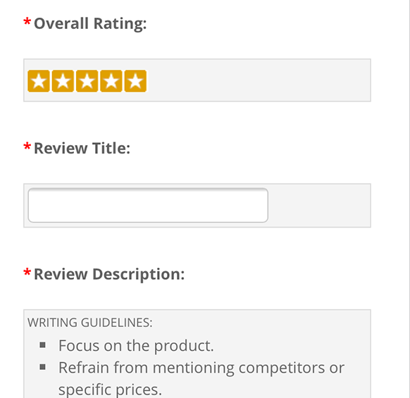 Ratings and Reviews - Review Form